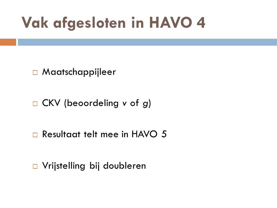 Vak afgesloten in HAVO 4 Maatschappijleer CKV (beoordeling v of g)