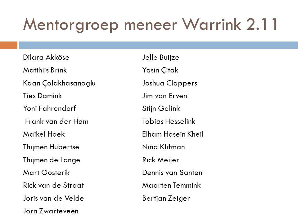 Mentorgroep meneer Warrink 2.11