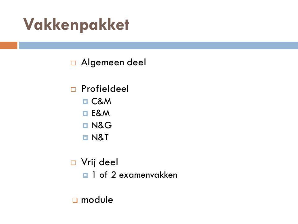 Vakkenpakket module Algemeen deel Profieldeel Vrij deel C&M E&M N&G