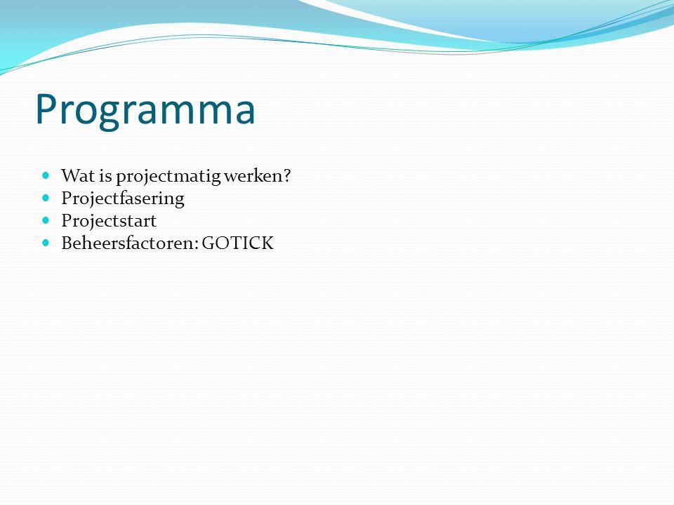 Programma Wat is projectmatig werken Projectfasering Projectstart