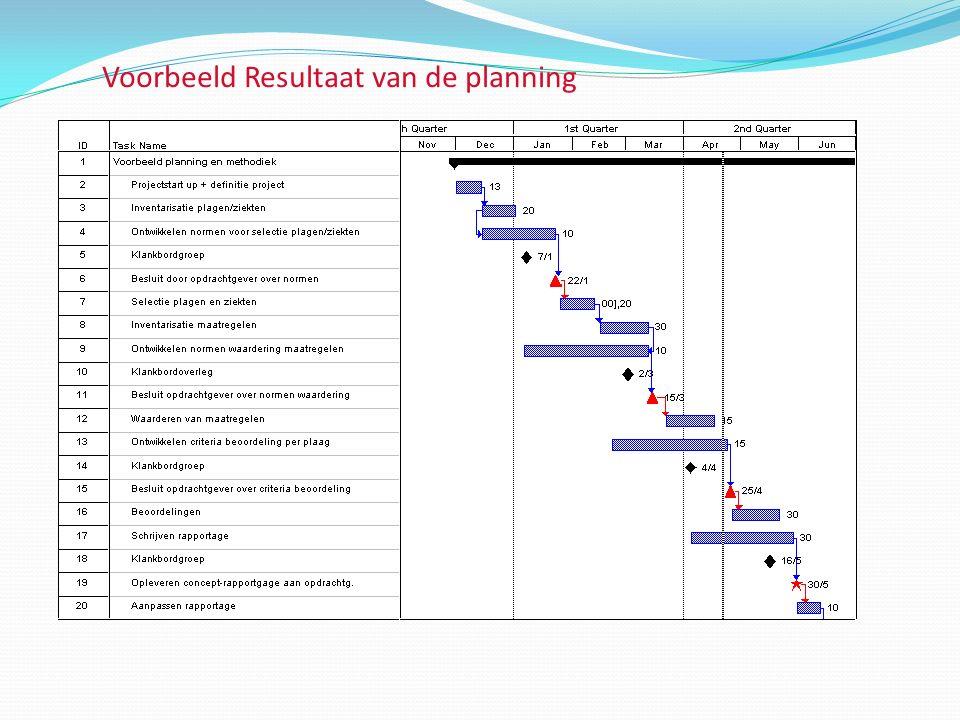 Voorbeeld Resultaat van de planning