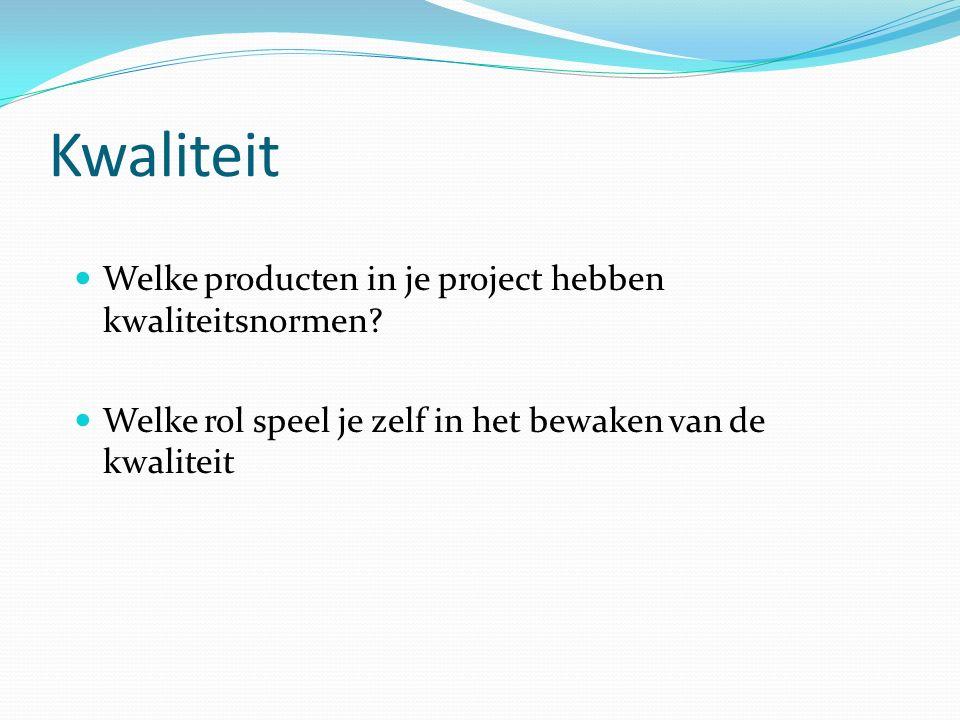 Kwaliteit Welke producten in je project hebben kwaliteitsnormen