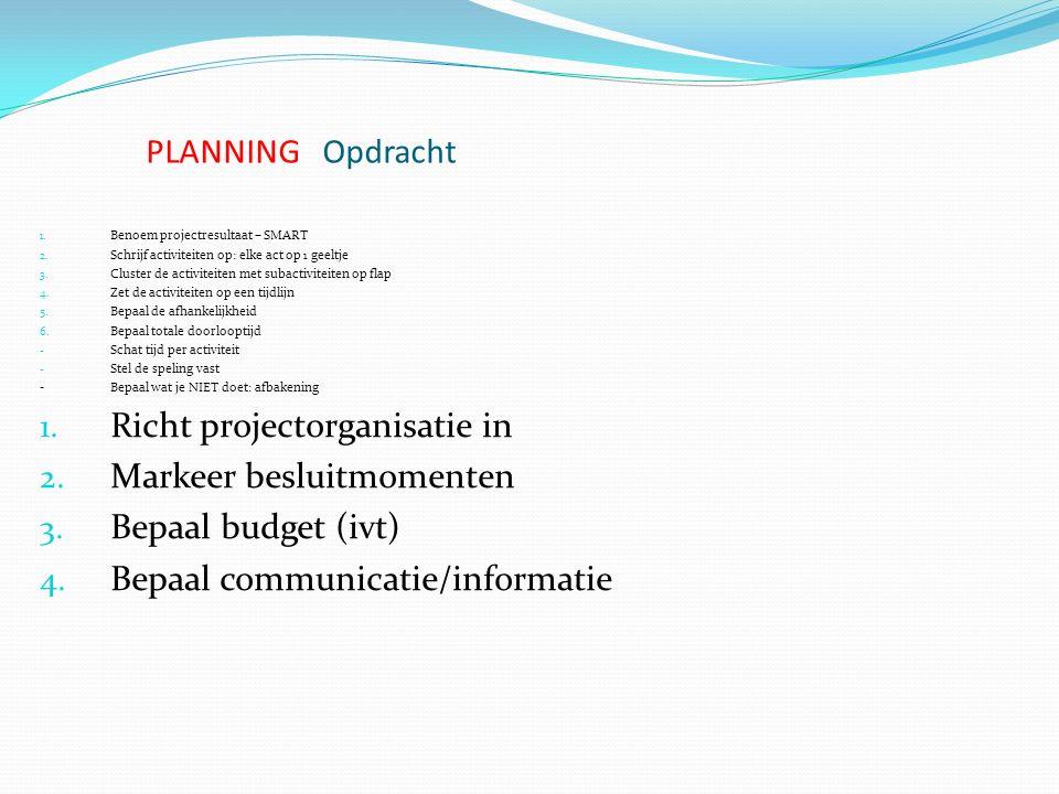 Richt projectorganisatie in Markeer besluitmomenten