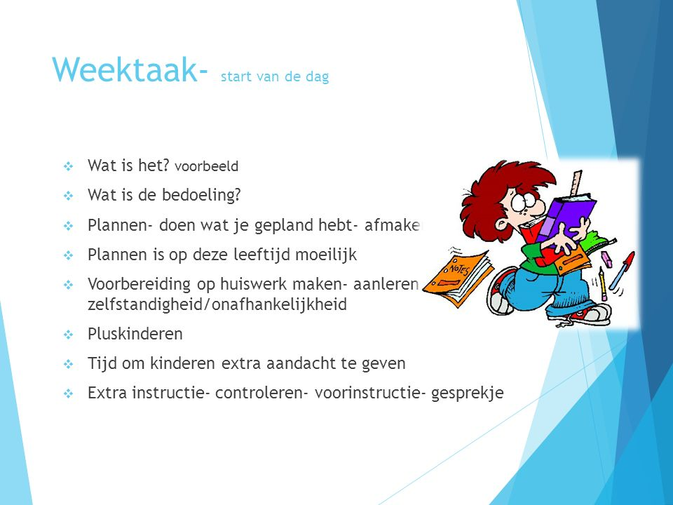 Weektaak- start van de dag