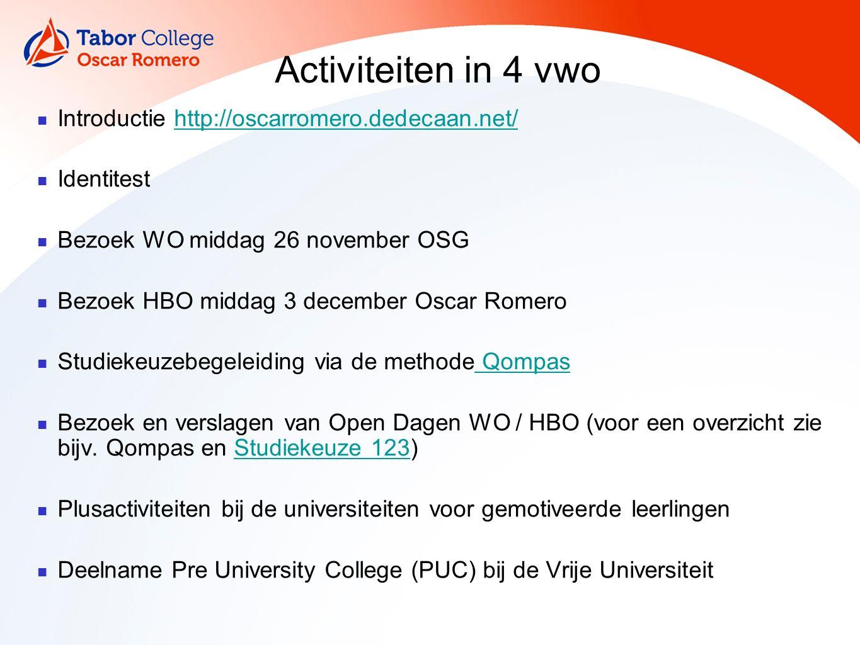 Activiteiten in 4 vwo Introductie http://oscarromero.dedecaan.net/