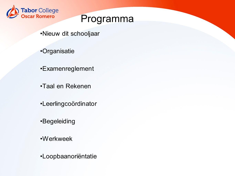 Programma Nieuw dit schooljaar Organisatie Examenreglement