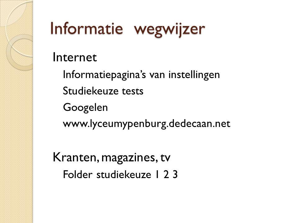 Informatie wegwijzer Internet Kranten, magazines, tv