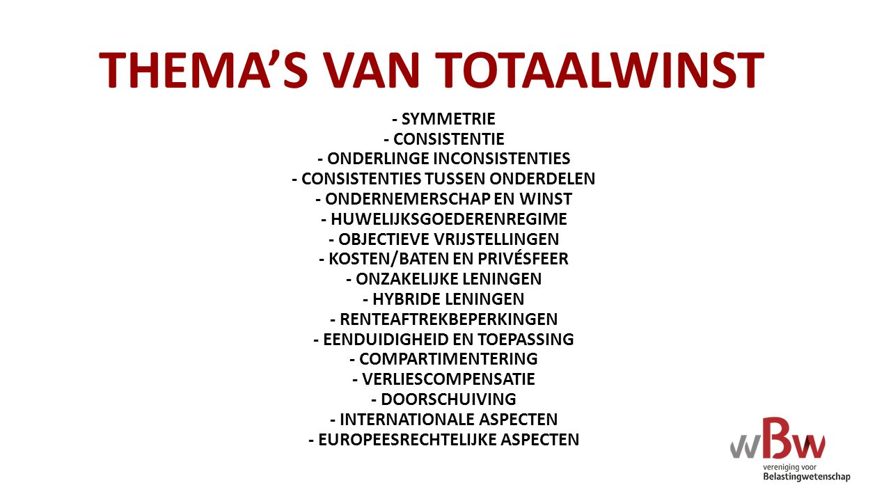 THEMA'S VAN TOTAALWINST