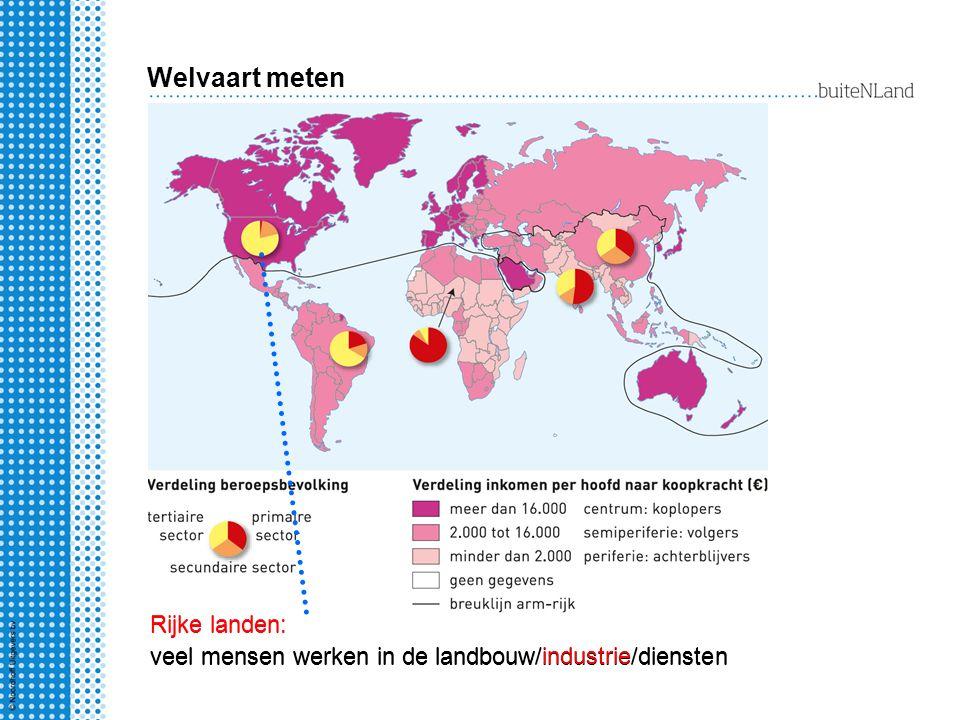 Welvaart meten Rijke landen: veel mensen werken in de landbouw/industrie/diensten.