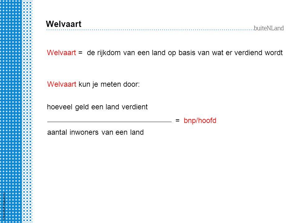 Welvaart Welvaart = de rijkdom van een land op basis van wat er verdiend wordt. Welvaart kun je meten door: