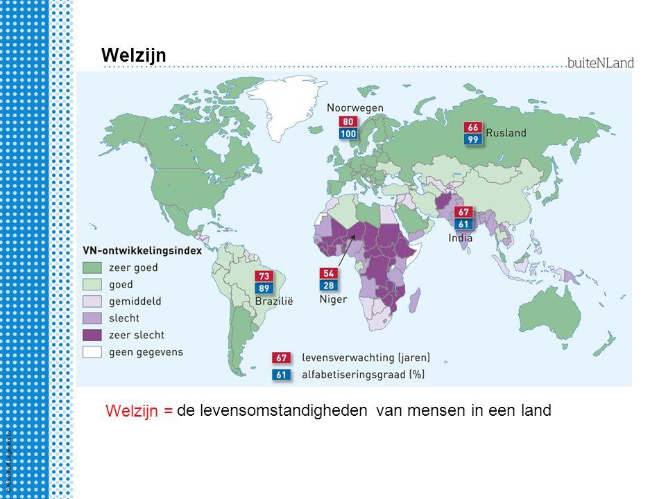 Welzijn Welzijn = de levensomstandigheden van mensen in een land