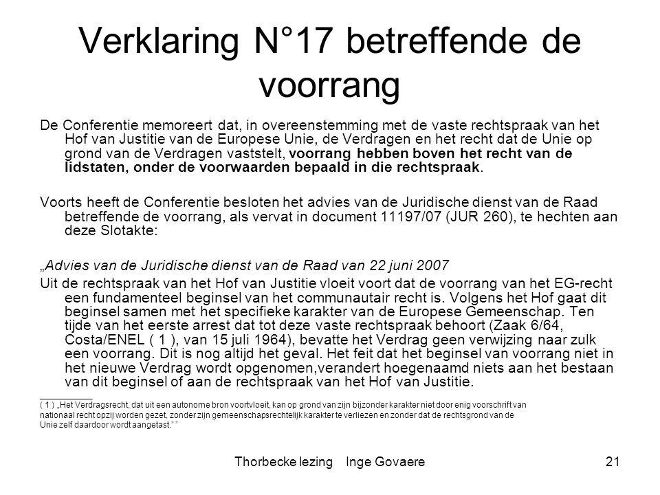 Verklaring N°17 betreffende de voorrang