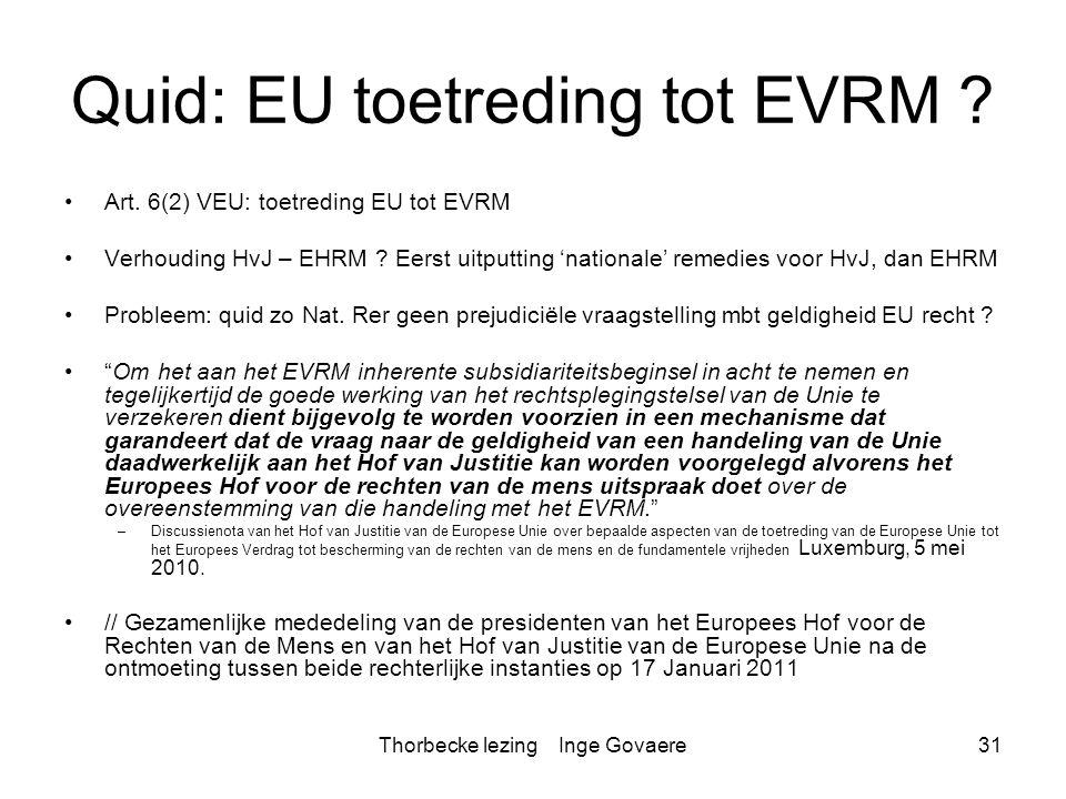 Quid: EU toetreding tot EVRM