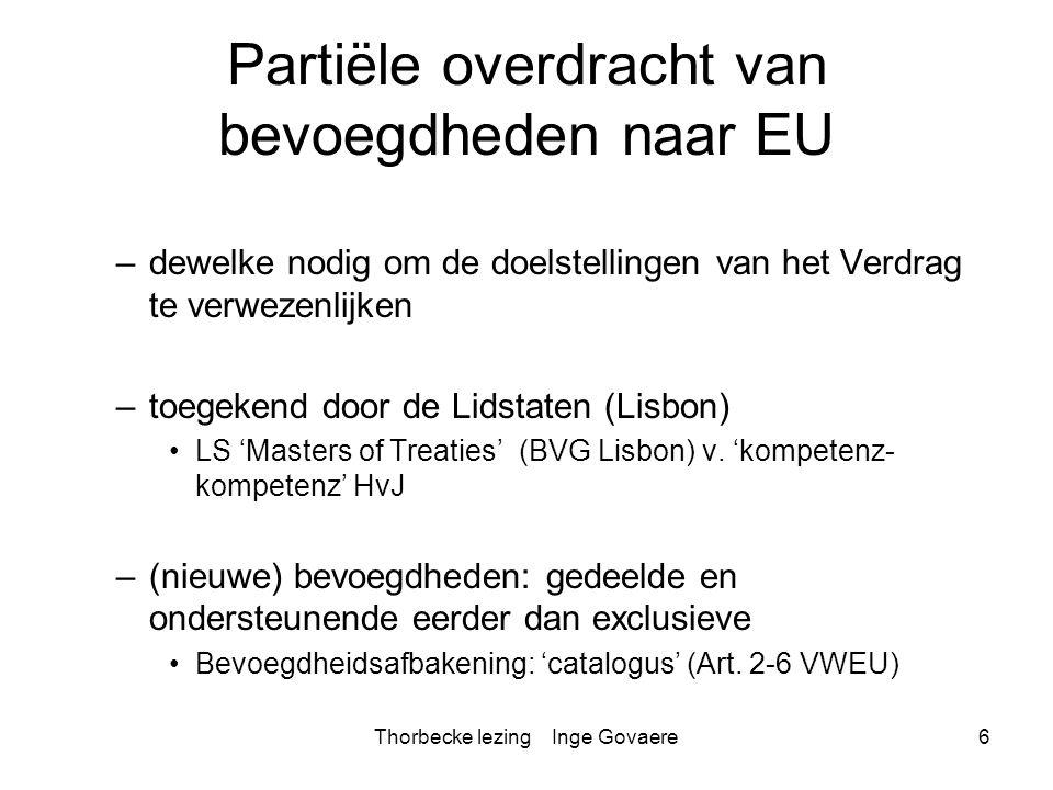 Partiële overdracht van bevoegdheden naar EU