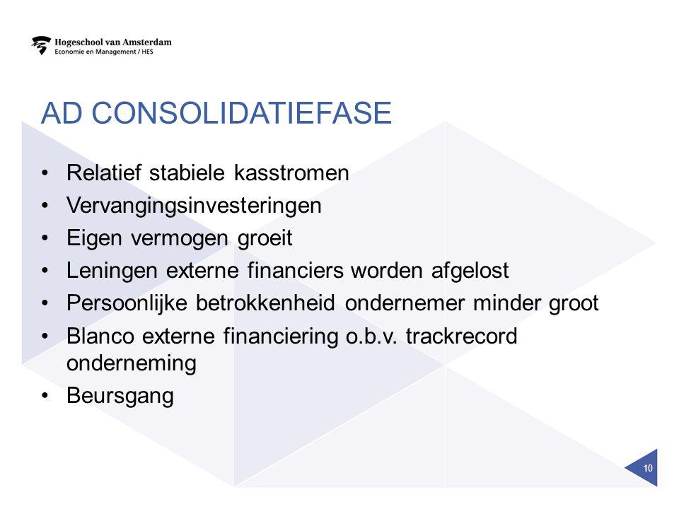 Ad consolidatiefase Relatief stabiele kasstromen