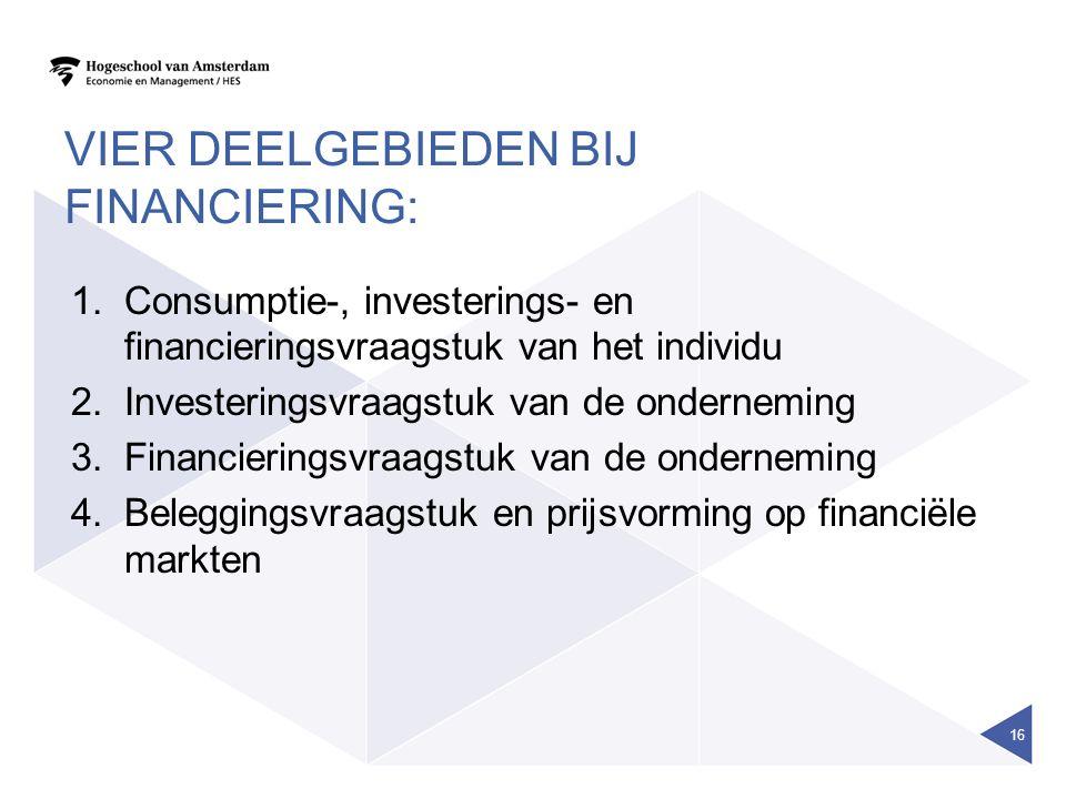 Vier deelgebieden bij financiering: