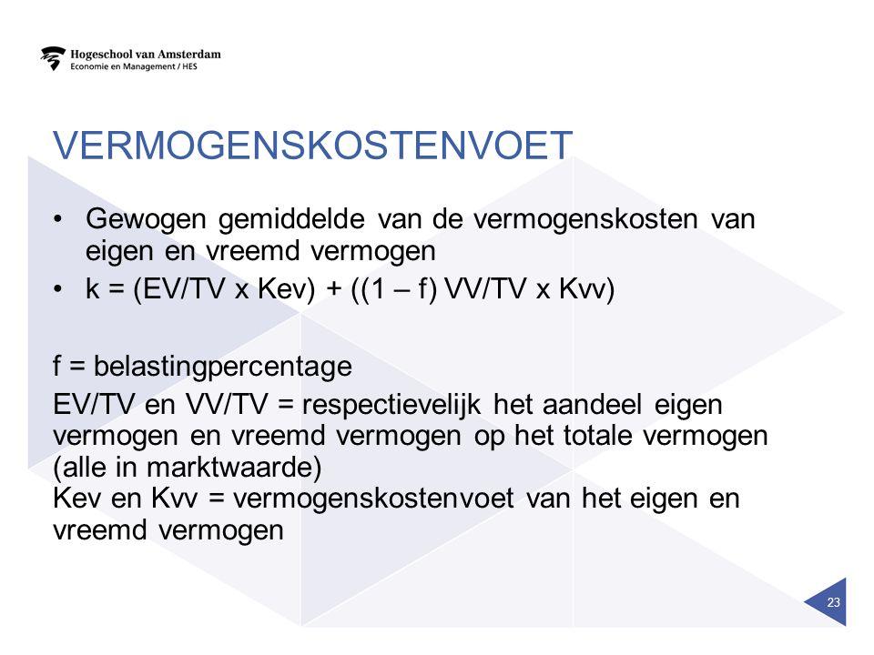vermogenskostenvoet Gewogen gemiddelde van de vermogenskosten van eigen en vreemd vermogen. k = (EV/TV x Kev) + ((1 – f) VV/TV x Kvv)