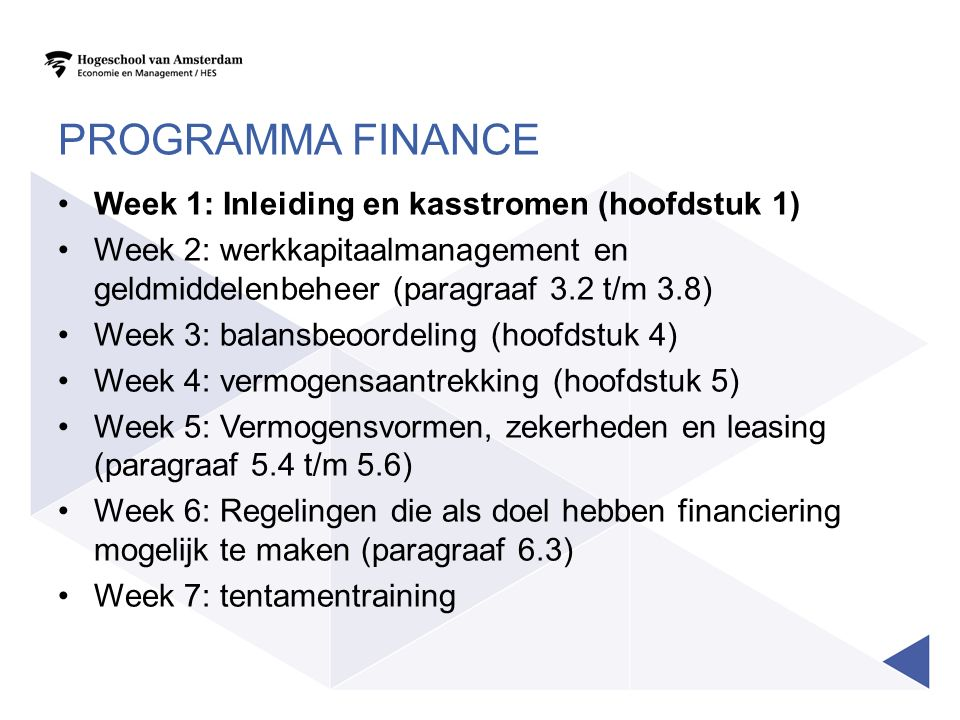 Programma Finance Week 1: Inleiding en kasstromen (hoofdstuk 1)