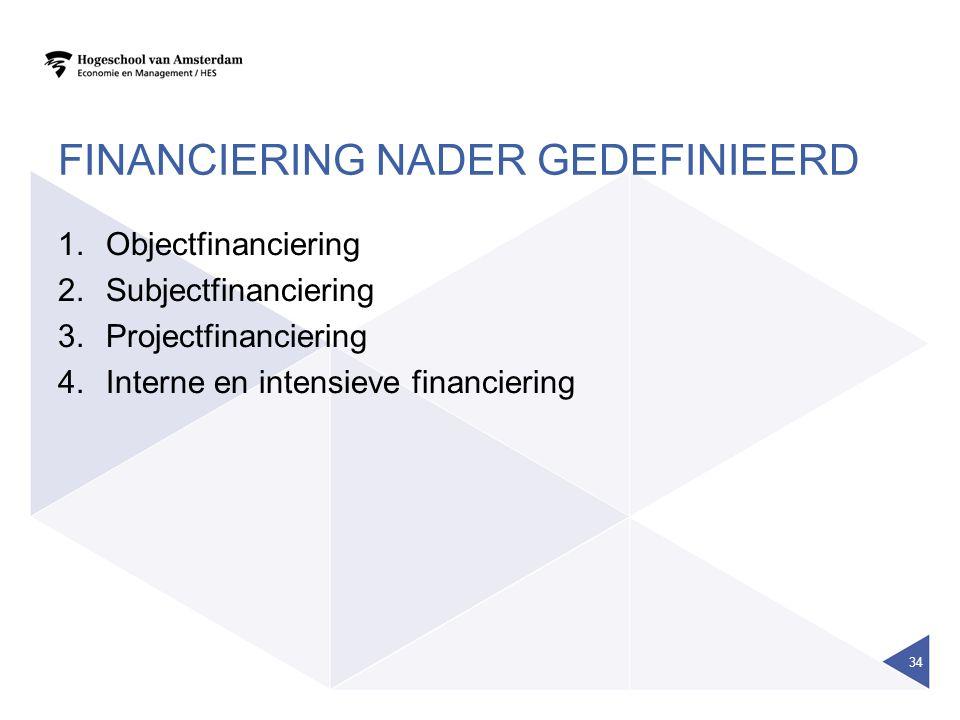 Financiering nader gedefinieerd