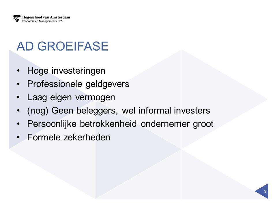 Ad groeifase Hoge investeringen Professionele geldgevers