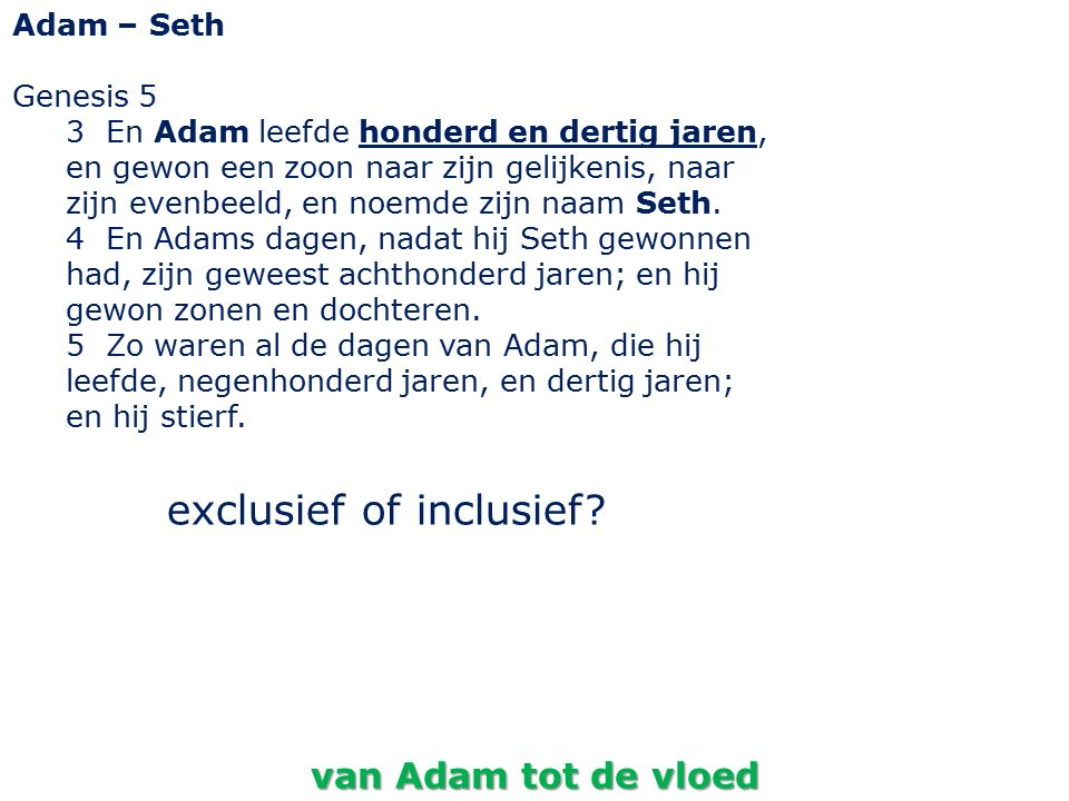 exclusief of inclusief