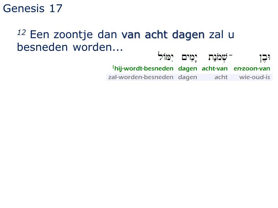 Genesis 17 12 Een zoontje dan van acht dagen zal u besneden worden...