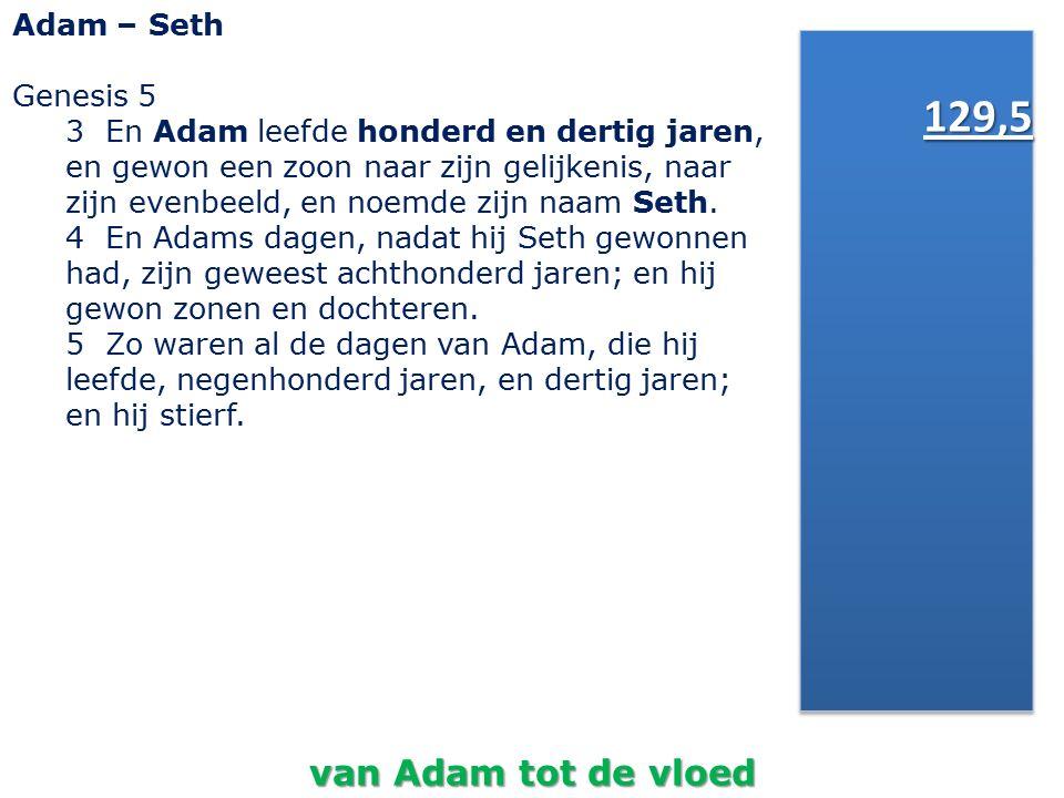 129,5 van Adam tot de vloed Adam – Seth Genesis 5