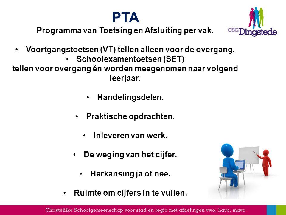 PTA Programma van Toetsing en Afsluiting per vak.