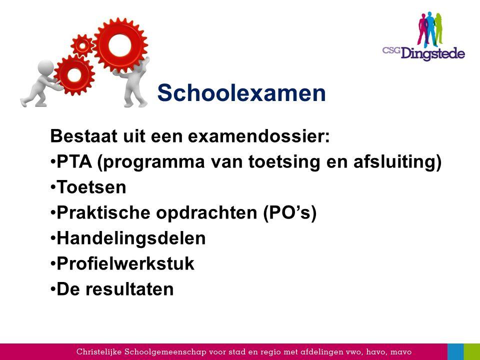 Schoolexamen Bestaat uit een examendossier: