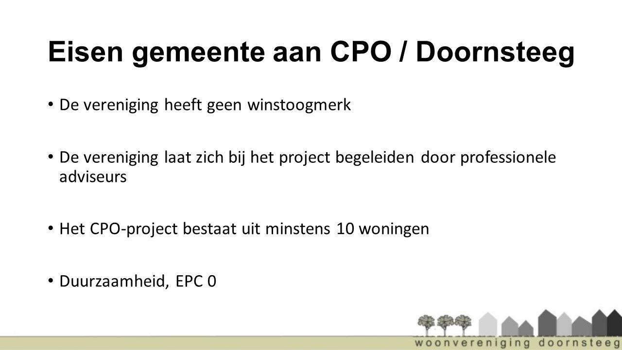 Eisen gemeente aan CPO / Doornsteeg