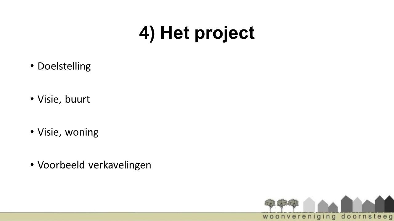4) Het project Doelstelling Visie, buurt Visie, woning