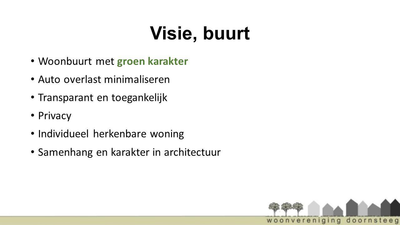 Visie, buurt Woonbuurt met groen karakter Auto overlast minimaliseren