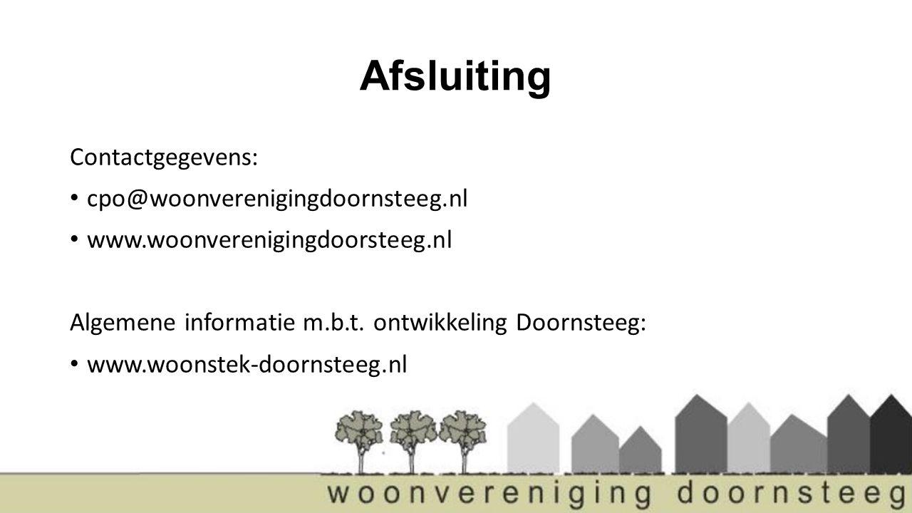 Afsluiting Contactgegevens: cpo@woonverenigingdoornsteeg.nl