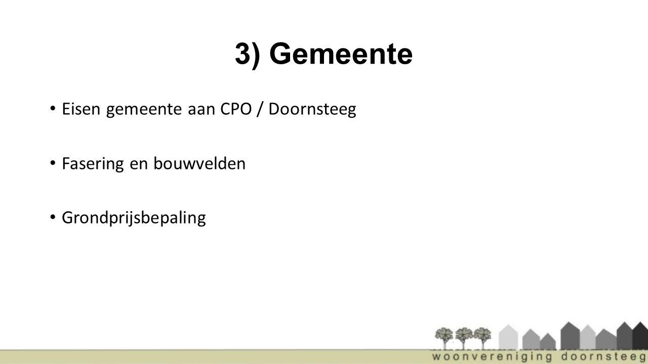 3) Gemeente Eisen gemeente aan CPO / Doornsteeg Fasering en bouwvelden