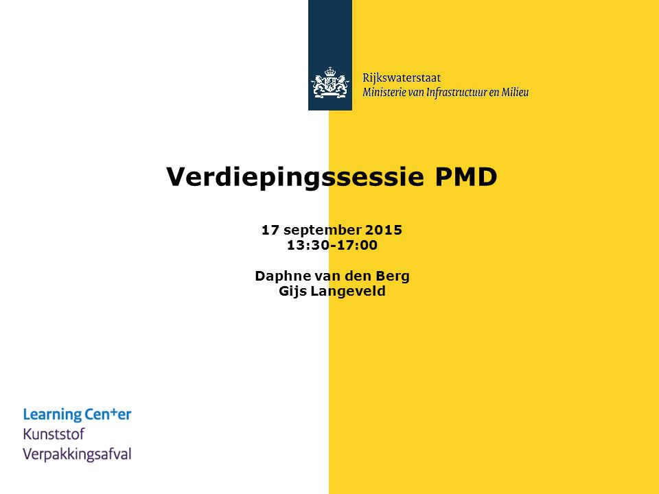 Verdiepingssessie PMD 17 september 2015 13:30-17:00 Daphne van den Berg Gijs Langeveld