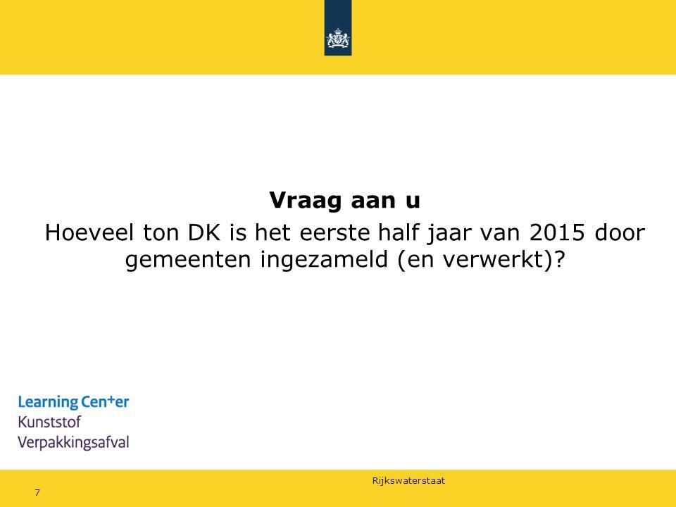 Vraag aan u Hoeveel ton DK is het eerste half jaar van 2015 door gemeenten ingezameld (en verwerkt)