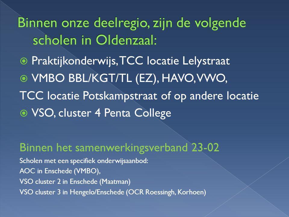 Binnen onze deelregio, zijn de volgende scholen in Oldenzaal:
