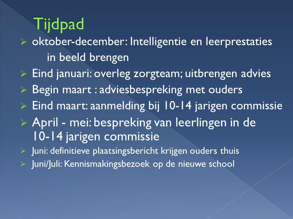Tijdpad oktober-december: Intelligentie en leerprestaties. in beeld brengen. Eind januari: overleg zorgteam; uitbrengen advies.