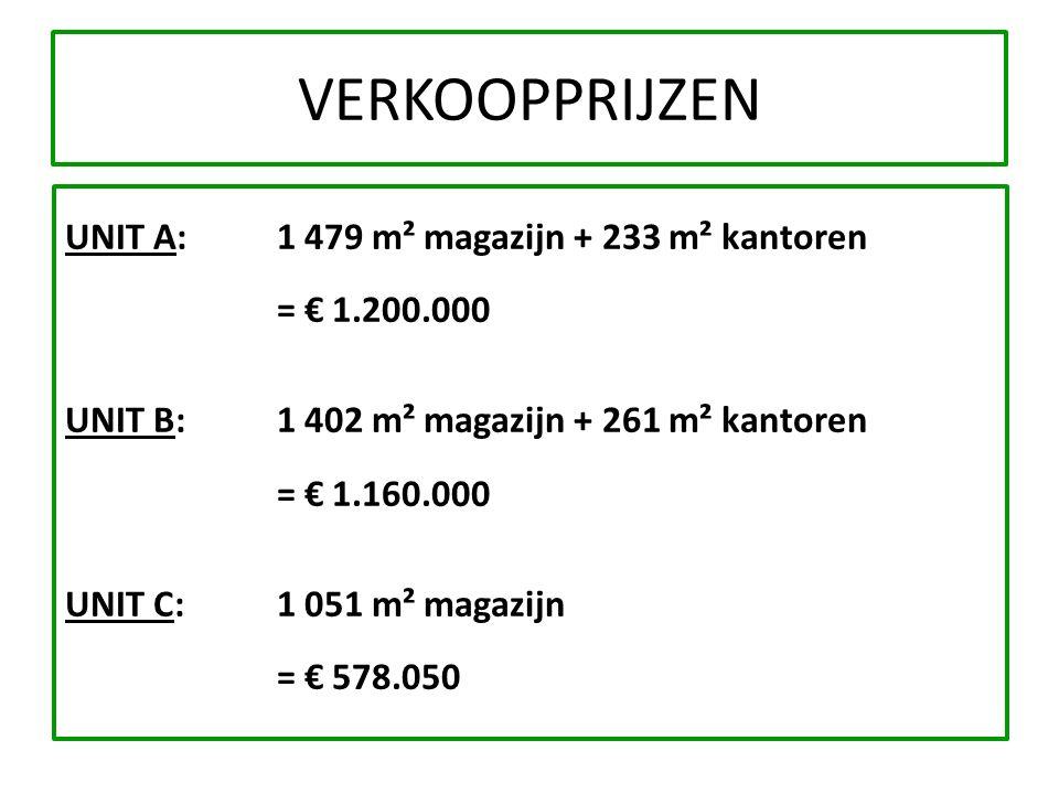 VERKOOPPRIJZEN UNIT A: 1 479 m² magazijn + 233 m² kantoren. = € 1.200.000. UNIT B: 1 402 m² magazijn + 261 m² kantoren.