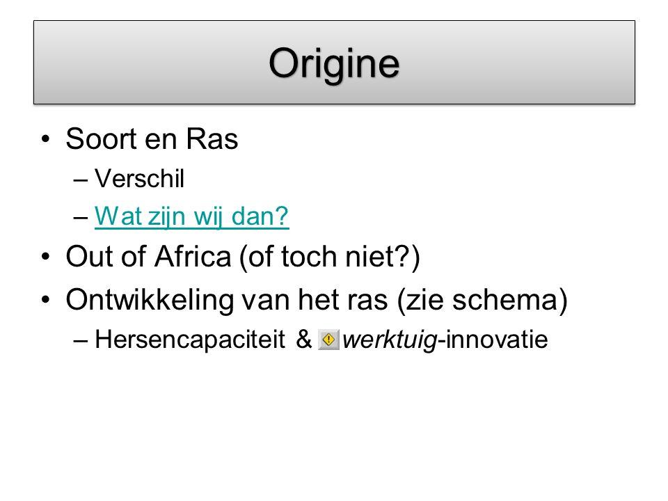 Origine Soort en Ras Out of Africa (of toch niet )