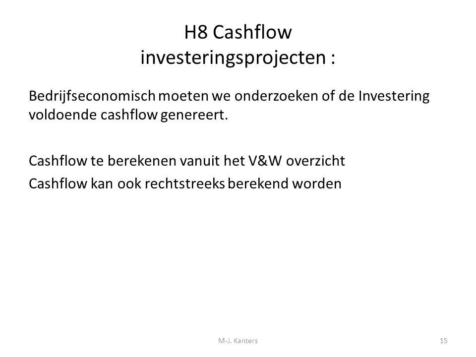 H8 Cashflow investeringsprojecten :