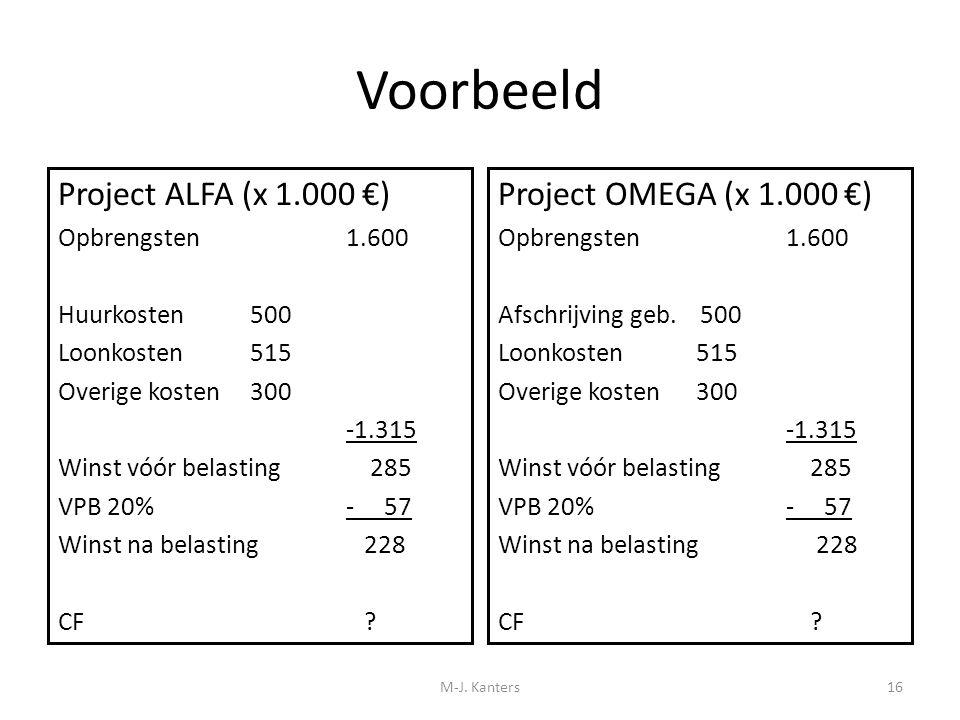 Voorbeeld Project ALFA (x 1.000 €) Project OMEGA (x 1.000 €)