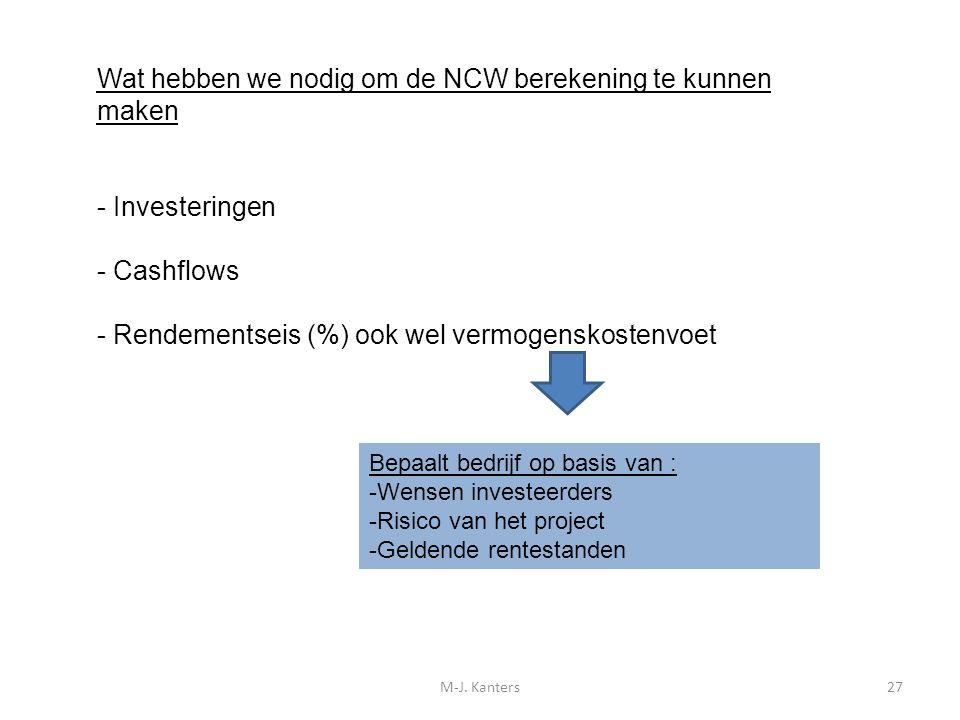 Wat hebben we nodig om de NCW berekening te kunnen maken