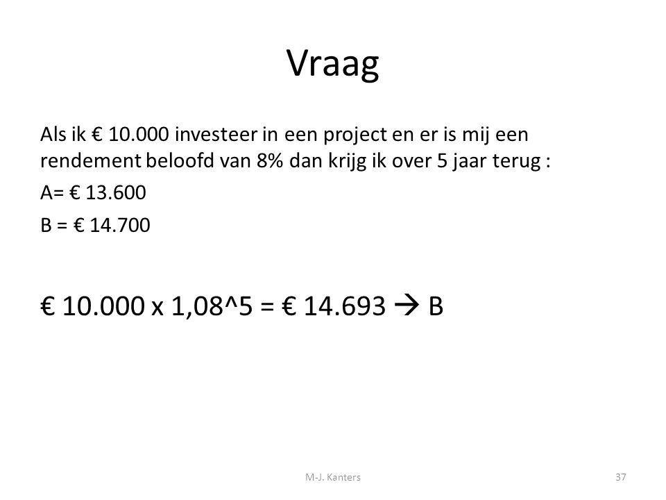 Vraag Als ik € 10.000 investeer in een project en er is mij een rendement beloofd van 8% dan krijg ik over 5 jaar terug :