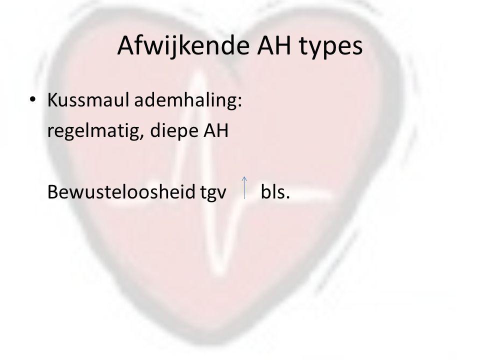 Afwijkende AH types Kussmaul ademhaling: regelmatig, diepe AH