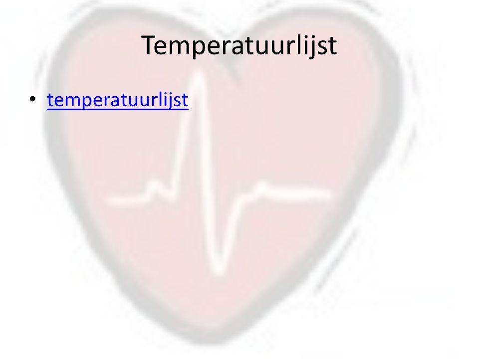 Temperatuurlijst temperatuurlijst