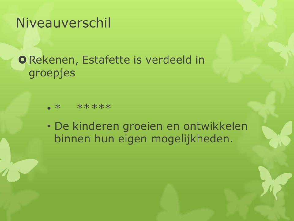 Niveauverschil Rekenen, Estafette is verdeeld in groepjes * ** ***