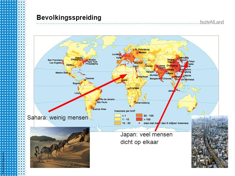 Bevolkingsspreiding Sahara: weinig mensen Japan: veel mensen