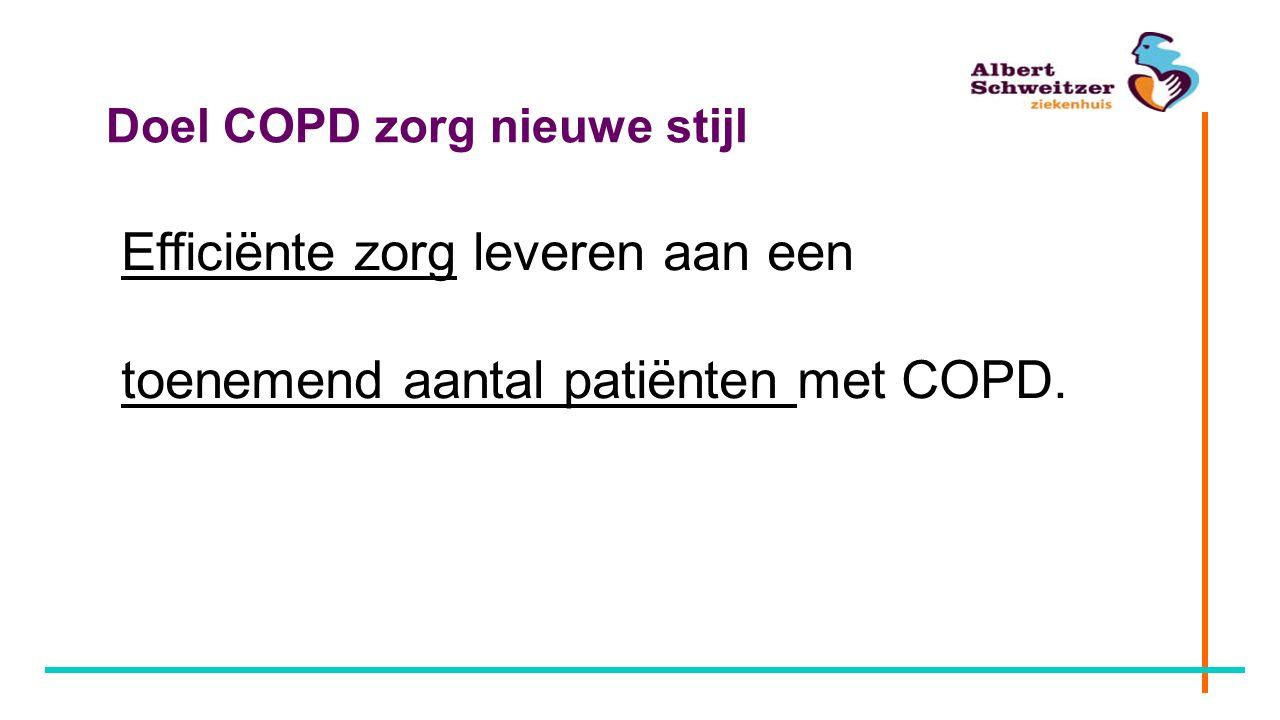 Doel COPD zorg nieuwe stijl