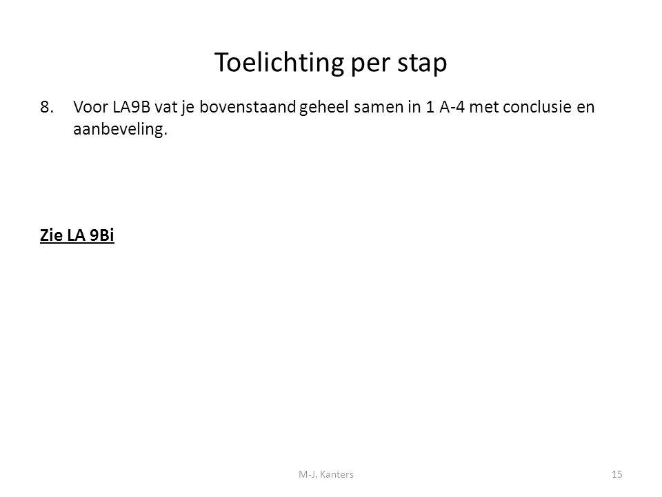 Toelichting per stap Voor LA9B vat je bovenstaand geheel samen in 1 A-4 met conclusie en aanbeveling.